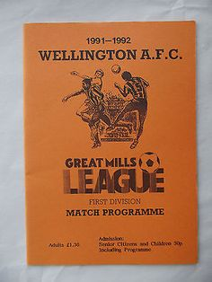 Football programme Wellington Town FC v Brislington 18 1 92 Great Mills