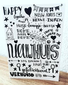 Bekijk deze Instagram-foto van @brievenbusgeluk • 1 vind-ik-leuk Birthday Wishes, Birthday Cards, Doodle Drawing, Chalk Lettering, Decoupage Art, Happy Together, Write It Down, Diy Cards, Chalkboard