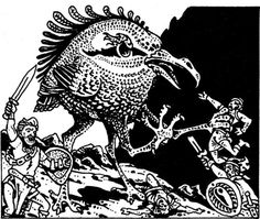 The achaierai. That guy on the left is giving the speech of his lifetime, something something Crispin's Day, urging the others forward to be murdered by a giant kiwi bird. (Russ Nicholson, I presume, AD&D Fiend Folio, TSR, 1981)