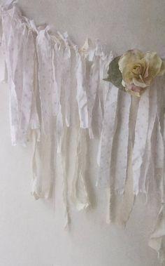 Pink Polka Dot Lace Fabric Garland. White Cream Pink Shabby
