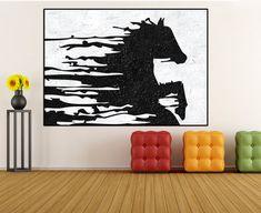 Lona de gran caballo abstracto pintura pared por WorldWallArtShop