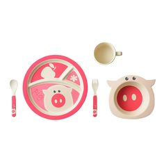 For your cute little piglet | Bamboo Kids 5 Piece Pig Set: Plate, Bowl, Cup and Utensils