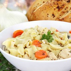 Skinny Chicken Noodle Soup 3 8oz boneless skinless chicken breasts 1 white onion, diced 4 carrots, sliced 4 stalks celery, chopped 3 cubes low sodium chicken bouillon cubes 12 ounces no yolk noodles S to taste
