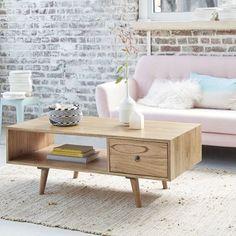Table basse en bois de mindy - 120 x 60 cm - 1 tiroir - OSLO BOIS DESSUS BOIS DESSOUS