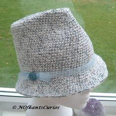 Blue Tweed Marple Crocheted Trilby Style Hat