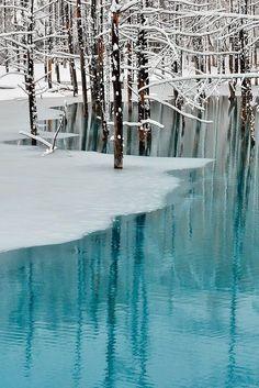 (via 500px / Blue Pond & Spring Snow,Hokkaido, Japan  Photography by  by Kent Shiraishi)