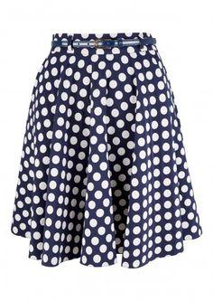 Navy Belted Polka Dot Swing Skirt - Sale