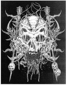 Riddick's illustrated gore – more (GNAR) images @ http://www.juxtapoz.com/Illustration/riddicks-illustrated-gore –Mark Riddick, Illustration, Heavy Metal, Band