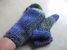 CLEARANCE SALE Large Mittens in Greens, Blue & Purple. £4.00