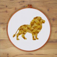 Geometric Lion cross stitch pattern modern animal design golden color