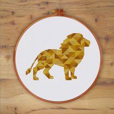 Geometric Lion cross stitch pattern modern animal design golden color