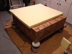It all started with a picture... I saw an ottoman that I liked online...but there was no way to get it. It wasn't sold in stores. So,... Upholstered Ottoman, Pouf Ottoman, Puff, Decoration, Diy Home Decor, Frosting, Table, Projects, Furniture