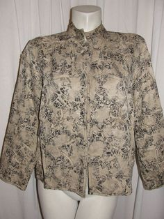CHICOS Beige Black Silk Linen Floral Fabric Stitch Design LS Jacket Sz M (1) #Chicos #BasicJacket
