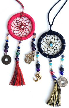 Dreamcatcher Necklaces Webbed In Tassels and Beads with hanging Hamsa and Om Pendants - $17 - Adorning Jewellery!