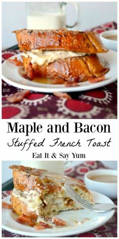 and Bacon Stuffed French Toast recipe- great for a weekend breakfast or for Mother's Father's Day brunch!Maple and Bacon Stuffed French Toast recipe- great for a weekend breakfast or for Mother's Father's Day brunch! Breakfast And Brunch, Breakfast Dishes, Breakfast Recipes, Bacon Breakfast, Breakfast Casserole, Breakfast Ideas, Gourmet Breakfast, Fathers Day Brunch, Brunch Recipes