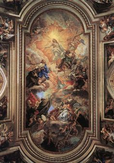 Apotheosis of the Franciscan Order 1707 Fresco Basilica Santi XII Apostoli, Rome Die Renaissance, Renaissance Kunst, Sacred Architecture, Baroque Architecture, Rennaissance Art, Ceiling Art, Baroque Art, Classic Paintings, Art Paintings