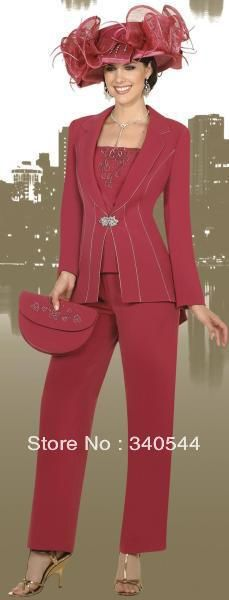 Elegent 3pc Mother of the Bride Pant Suits chiffon red crysal and applique  long sleeves pants outfit with jacket no cat and bag US $115.00