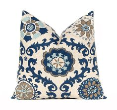 Decorative Throw Pillow Covers 20 x 20 Navy Taupe Aqua on Linen Cushion Sofa Pillows Rosa by Premier Prints