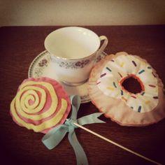 #Fabric lollipop & doughnut, yum yum vintage #TeaParty