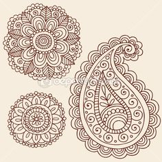 Henna Flowers Doodles Vector Design Elements — Imagens vectoriais em stock #8627508