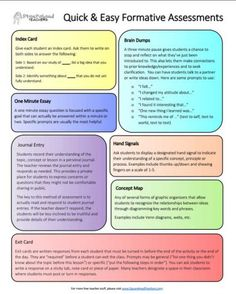 Squarehead Teachers: Formative Assessment Cheat Sheet for Teachers. Easy formative assessments to do with your class.