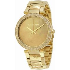 Michael Kors Parker Mother of Pearl Dial Ladies Watch ($143) ❤ liked on Polyvore featuring jewelry, watches, analog watches, gold tone jewelry, dial watches, stainless steel wrist watch and michael kors jewelry
