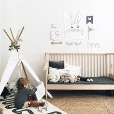 Black, white and wood nursery