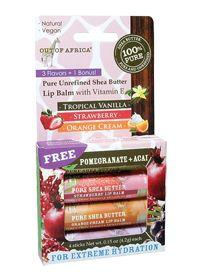 Out Of Africa                       Shea Butter Lip Balm 3 + 1 Bonus Pack, 0.15 Ounces , Lip Balm