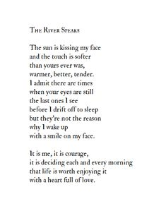 The River Speaks