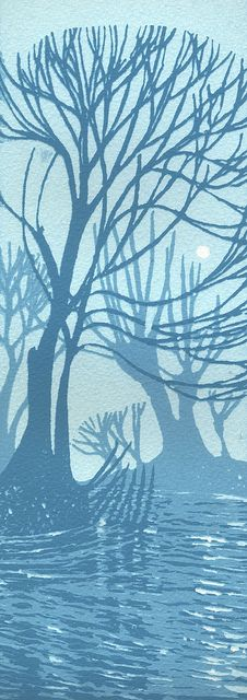 ARTFINDER: Grantchester Willows by Ian Scott Massie - A group of willow trees by a river near Cambridge. I love the shapes of these trees and the simple silhouettes in the blocks of blue. This is a three c. Art Folder, Linoprint, Woodblock Print, Botanical Prints, Paintings For Sale, Printmaking, Illustration Art, Nature Illustrations, Screen Printing