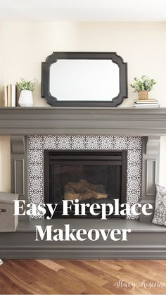 Fireplace Update, Brick Fireplace Makeover, Home Fireplace, Fireplace Surrounds, Fireplace Design, Painting A Fireplace, Diy Faux Fireplace, Painted Fireplace Mantels, Brick Fireplace Remodel