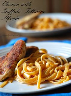 Chicken with Buffalo Fettucine Alfredo | lemonsforlulu.com MAKE THIS WITH COCONUT MILK AND WING SAUCE!