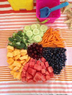 Beach ball fruit and veggie tray