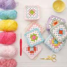 Pretty crochet squares @ Mary Jane's Tearoom