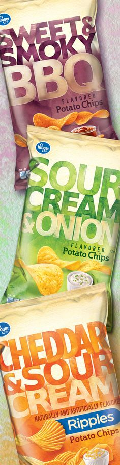 Kroger, Potato Chips - Packaging designed by Design Resource Center http://www.drcchicago.com/