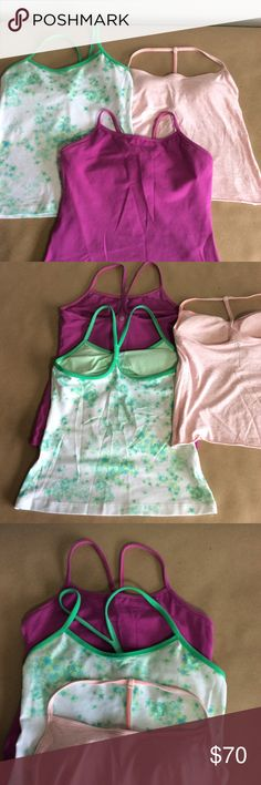 Lululemon Bundle size 6 😍❤️💕like new condition Size 6, two are Y tanks one purple and other white with green flowers both has built in bra,the green and white has the pads still, the little pink T back it's prima cotton tank and it was hand cropped to make it shorter, all of them it's in great condition lululemon athletica Tops Tank Tops