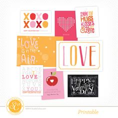 FREE 3x4in and 4x6in printables and card templates for Valentine's Day