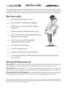 Free printable worksheet: When I Have a Conflict. A quick self-test to help kids determine how they handle conflict and conflict resolution.