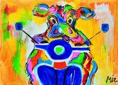 Koe-ter vrolijk en grappig schilderij
