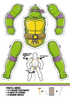 All four Teeange Mutant Ninja Turtles as Jumping Jacks. Dowload template free. Just print, cut out and put together . Another cool superhero cut out puppet.
