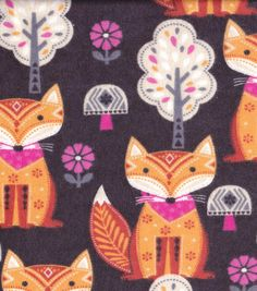 Snuggle Flannel Fabric-Folk Foxes