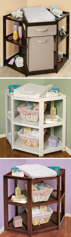 Corner Changing Table // Such a Better Idea & easier than changing a baby from the side #brilliant