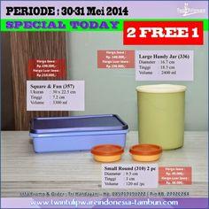 Promo 2 Free 1 #Tulipware : 30-31  Mei 2014 >> Square & Fun, Large Handy Jar, Small Round