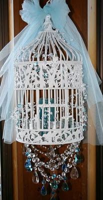 A bird cage chandelier.                                                                                                                                                                                 More