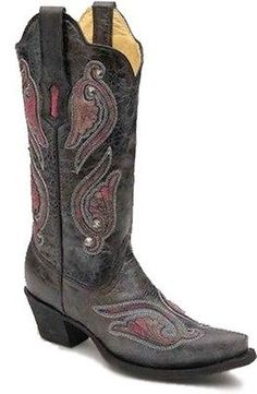 Womens Corral Black And Pink Patch Leather Cowboy Boots