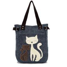 Women Canvas Handbag Cute Cat Shoulder Bag Totes 6dfe75b4aeca3