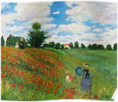 Handmazing,Wild Poppies, near Argenteuil-Claude Monet Hand-made oil painting,Well-framed oil painting,Rent Famous Landscape Paintings, Famous Artists Paintings, Monet Paintings, Landscape Art, Famous Artwork, Claude Monet, Wild Poppies, Impressionist Landscape, Oil Painting Reproductions