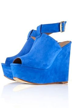 WALBERG Blue Suede Ankle Strap Platform Wedges - Heels - Shoes - Topshop USA - StyleSays