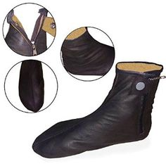 Pure Leather socks ondition: New Color: Black Material: 100% Sheepskin Leather with zipper inside Sock Length: Ankle Socks   100% Genuine Leather Socks Khuffain Kuff khuff Quff Shoes Slippers Muslim Islam