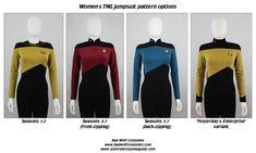 Star Trek Sewing Pattern - TNG Jumpsuit - The Next Generation Starfleet Uniform (Women's) Costume Patterns, Sewing Patterns, Trio Halloween Costumes, Star Trek Uniforms, Star Trek Cosplay, Uniform Design, Thing 1, Costume Dress, New Kids
